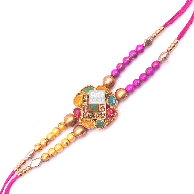 Pink & Gold Color Rakhi For Brother