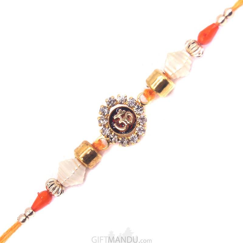 Om Design Orange Rakhi
