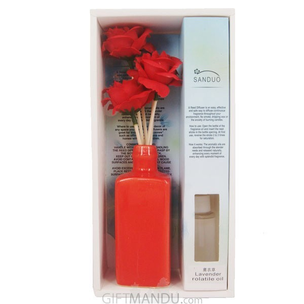 Natural Flower Aroma Reed Diffuser Oil Vase Red Gifts To Nepal