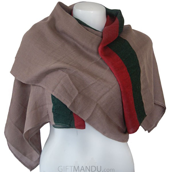 Colourful Lining Ladies Scarf - Light Brown