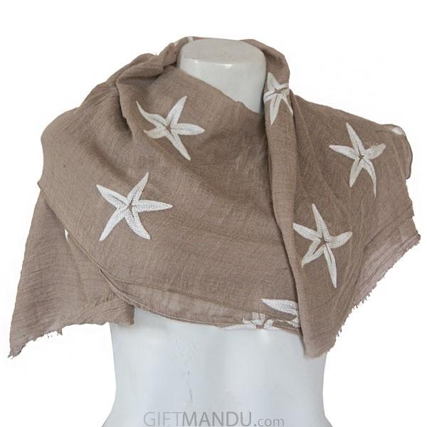 Women Star Print Ladies Scarf - Light Brown