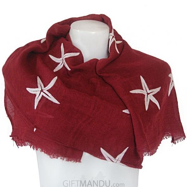 Women Star Print Ladies Scarf - Maroon