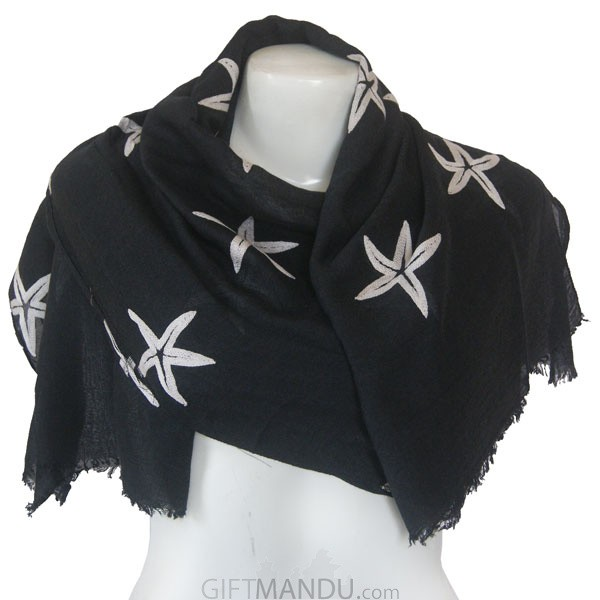 Women Star Print Ladies Scarf - Black