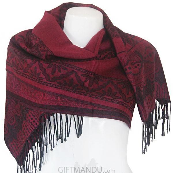 Women Mayur Print Soft Luxurious Scarf Wrap shawl - Maroon