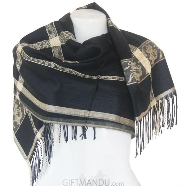Women Flower Print with Cream Lining Soft Luxurious Scarf Wrap shawl - Black