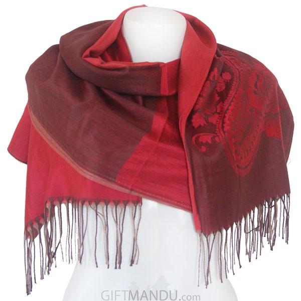 Women Mayur Print Soft Luxurious Scarf Wrap shawl - Red
