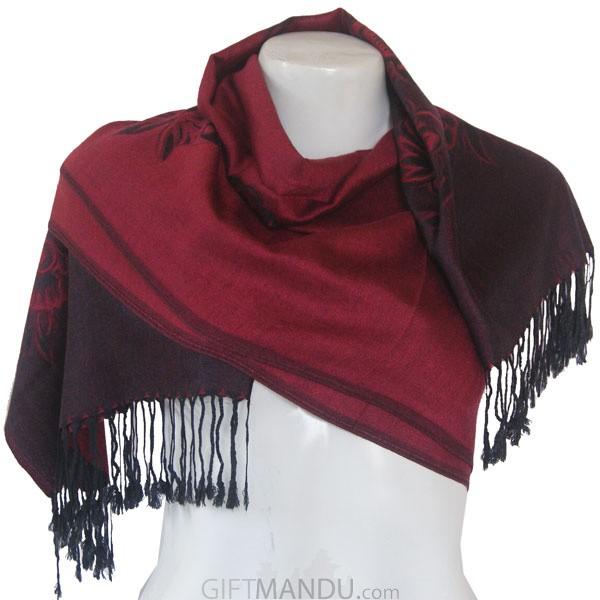 Women Flower Print Soft Luxurious Scarf Wrap shawl - Maroon