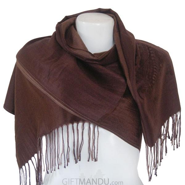 Women Mayur Print Soft Luxurious Scarf Wrap shawl - Brown