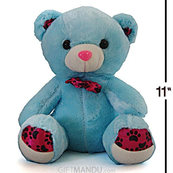 Tickles Blue Teddy with a Cute Bow (11 inch)