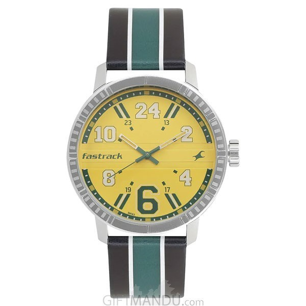 Fastrack Yellow Dial Analog Gent's Watch - 3178SL02