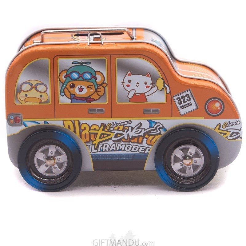 Racing Motor Design Piggy Bank For Boys (Orange)
