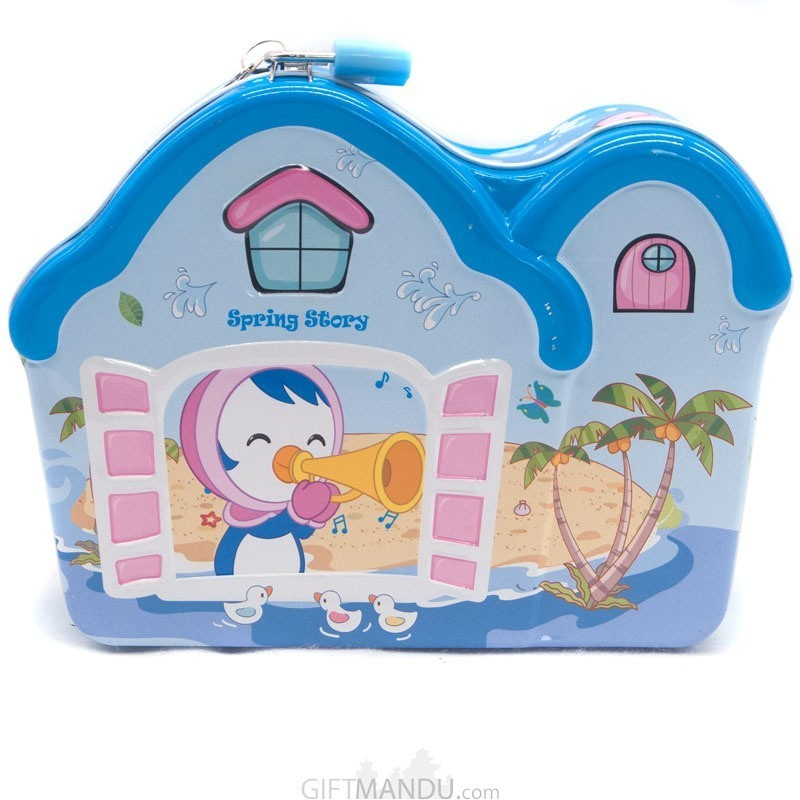 House Design Piggy Bank For Kids (Blue)