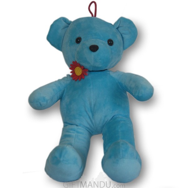 Blue Teddy Bear With Cute Flower Choker Necklace - 16 inch