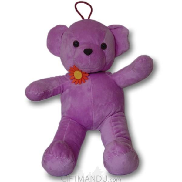 Purple Teddy Bear With Cute Flower Choker Necklace - 16 inch