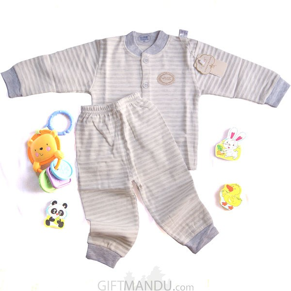 Two Pcs Full Sleeve Top Trouser Set - Stripe Blue (0-3 months)