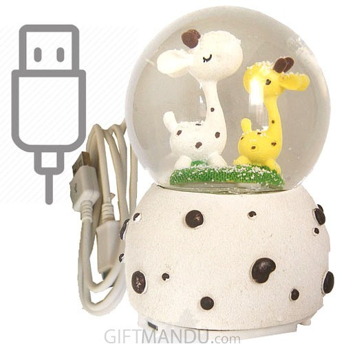 Cute Baby Giraffe Bluetooth Snow Globe Speaker - 6 Inch (Music)
