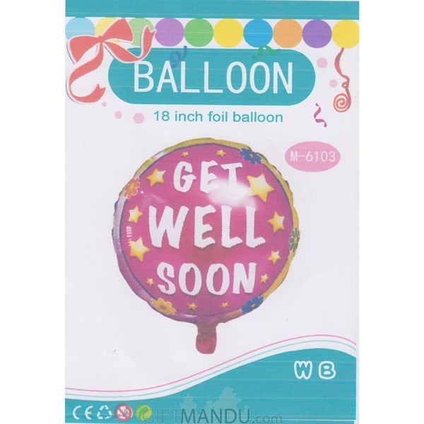 "Round 18"" Get Well Soon Foil Balloon (Air or Helium)"