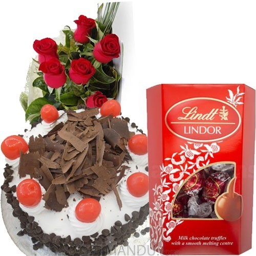 Cake, Lindt Chocolates and Flowers