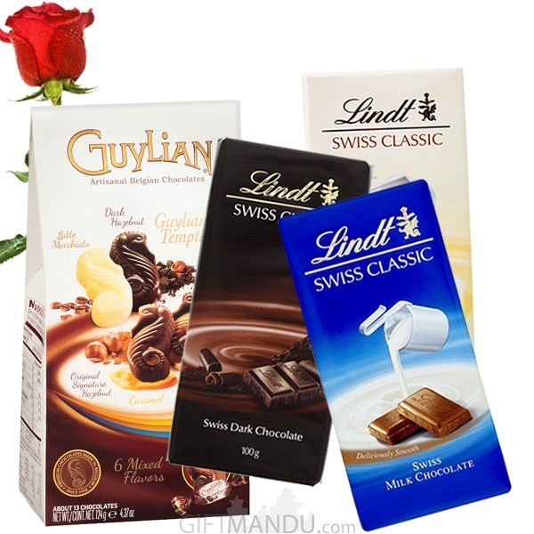 Lindt Swiss Classic Chocolates and Guylian Temptations Gift Pack (Free Rose)