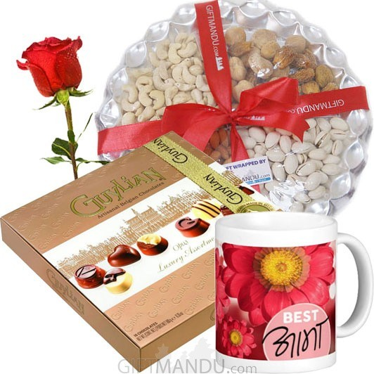 Guylian Chocolates, Dry Nuts Tray and Best Aama Mug (Free Rose)