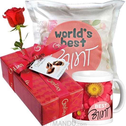 Guylian Chocolates, Best Aama Cushion and Coffee Mug (Free Rose)