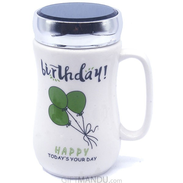 Birthday Ceramic Coffee Mug (Green Balloon)