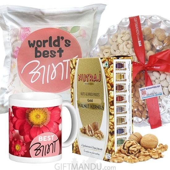 Dry Nuts Tray, Walnut Kernels, Best Aama Mug and Cushion