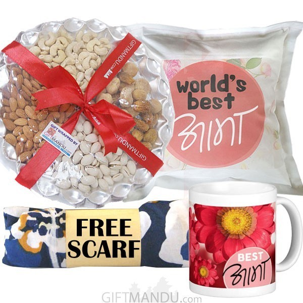 Dry Nuts Tray, Best Aama Mug and Cushion, and Free Scarf