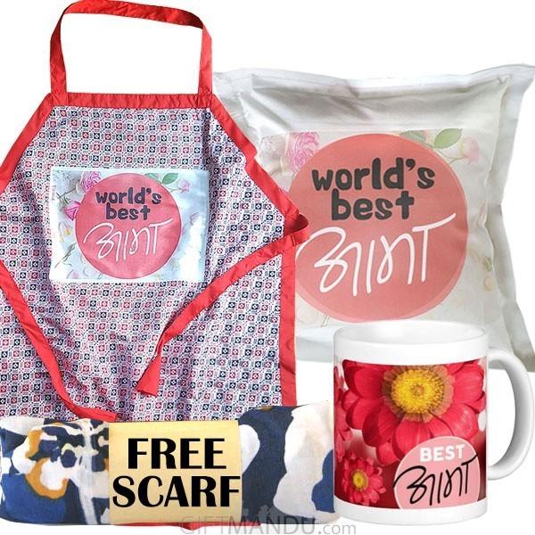 Best Aama Mug, Cushion, Kitchen Apron, and Free Scarf