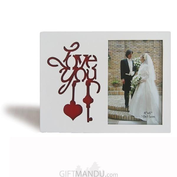 """Love You"" Key Heart Beautiful Photo Frame  - Table Top"