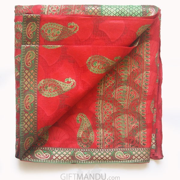 Tulasi Red Cotton Saree by Dream Girl