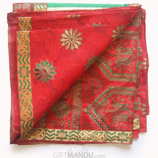Tulasi Red Cotton Saree with Green Aachal by Dream Girl