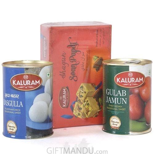 Gulab Jamun, Rasbari and Soan Papdi Sweets
