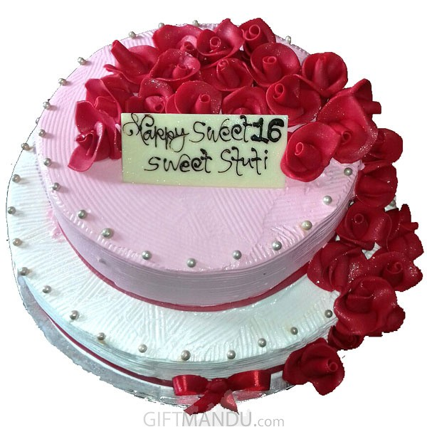 Two Layered Five Star Round Floral Cake for Special Big Events (3kg+)