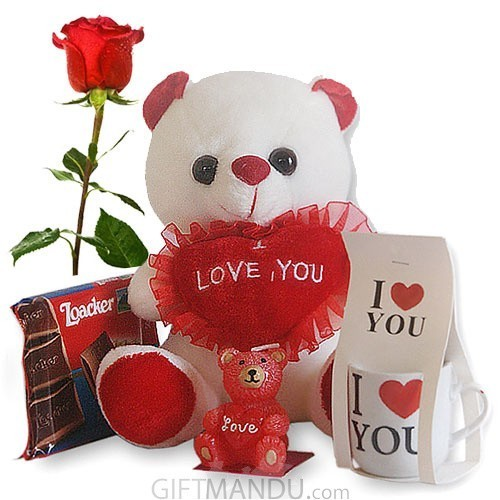 Love Teddy Bear, Love Mini Mug, Love Bear Candle, Loacker Chocolate, Free Rose