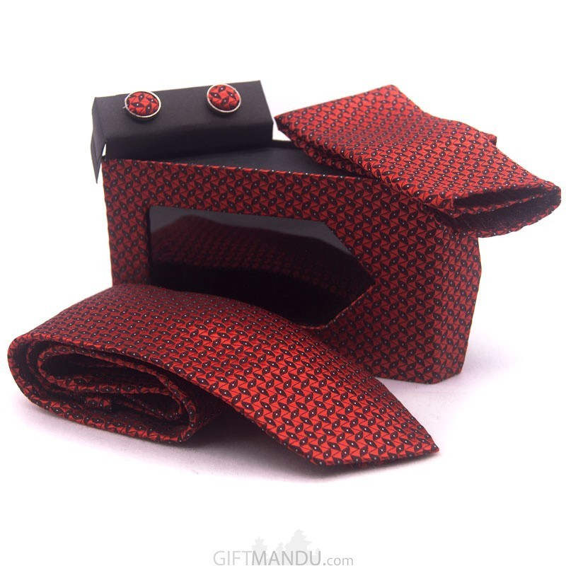 Standard Red Men Tie, Cufflinks and Scarf Gift Set