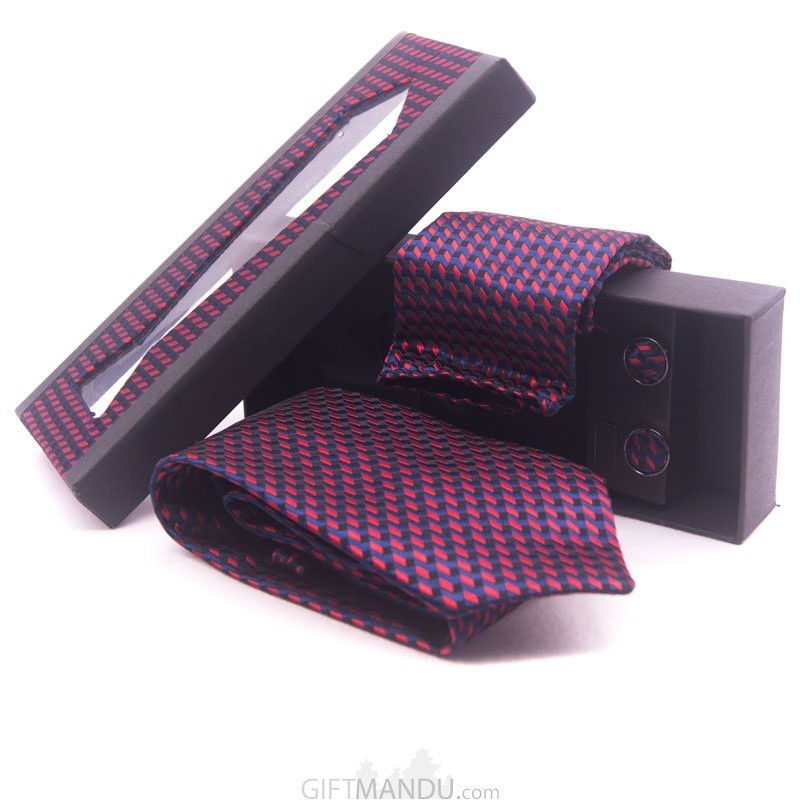 Formal Skinny Blue and Maroon Men Tie Pocket Square Set
